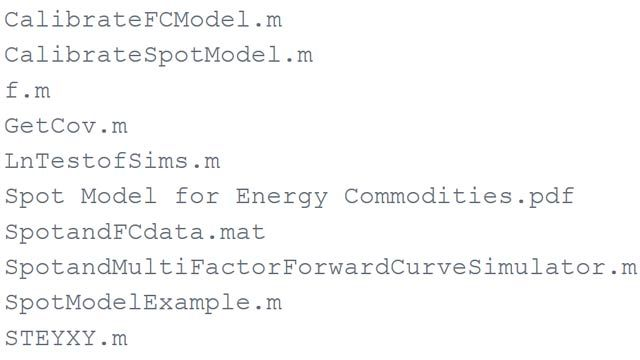 Monte Carlo Example of a Multicommodity Spot and Forward Curves Simulator