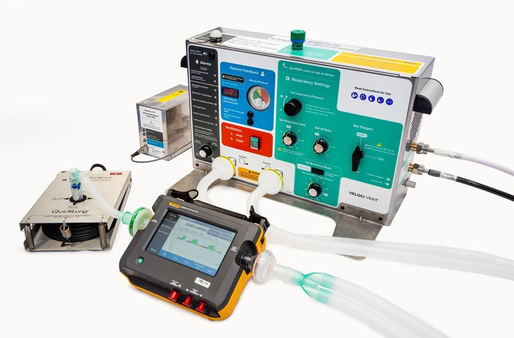 The ventilator is connected to the various hardware components used for HIL simulations.