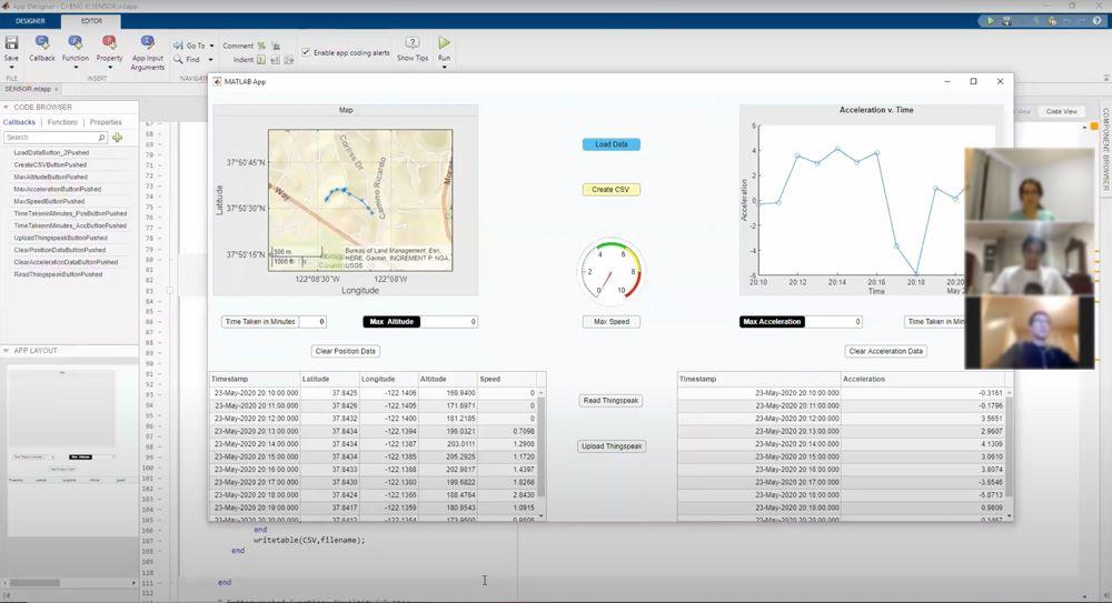 Figure 3. A student-created MATLAB app that captures and tracks GPS sensor data.