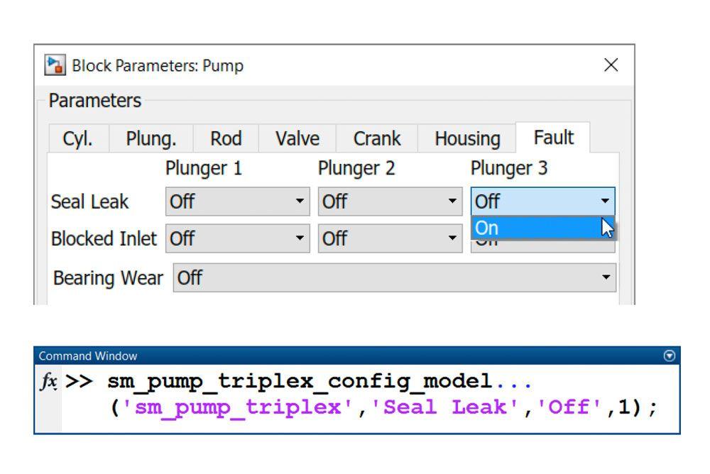 Abbildung 5: Modellieren einer Undichtigkeit in der Triplexpumpe. Parameter können über das Dialogfeld für den Pump-Block (oben) oder die Befehlszeile (unten) geändert werden.