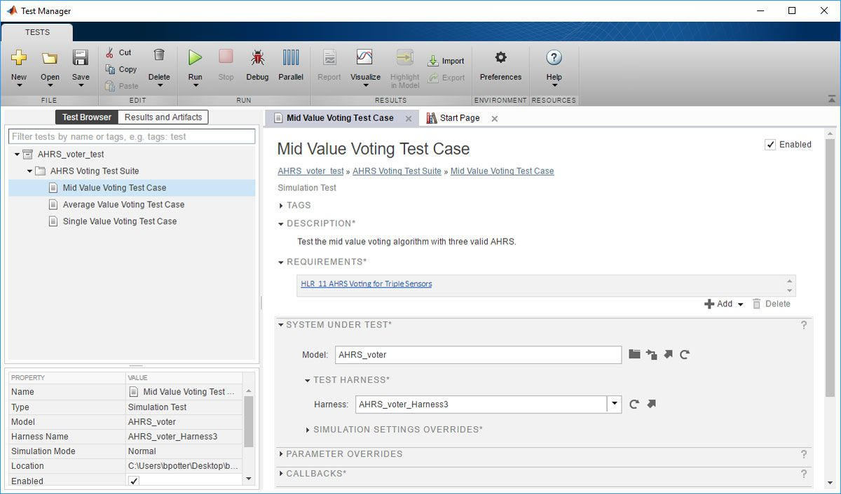 Figure 2.  The Test Manager interface.