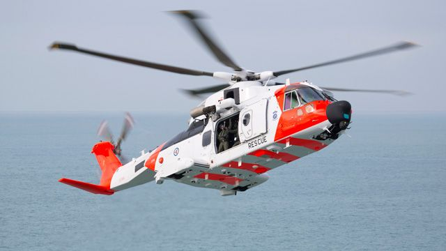 An AW101 long-range helicopter equipped with a Leonardo Osprey 30 active electronically scanned array radar system.