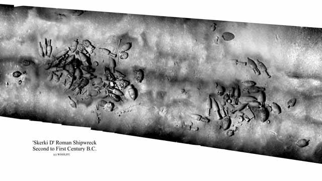 Photomosaic of an 80–60 B.C. Roman trading ship.