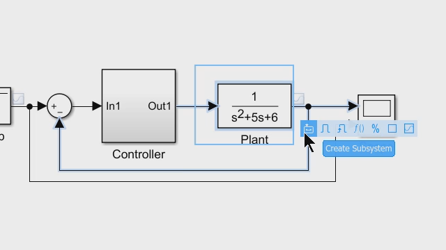Create subsystems and components in your Simulink model. Create model references so you or your team can work on components independently from the top-level model.