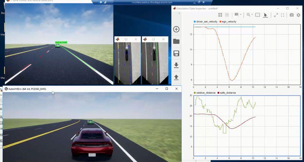 Spurhalte-Steueranwendung mit monokularer Kamerawahrnehmung, erstellt mit MATLAB und Simulink: