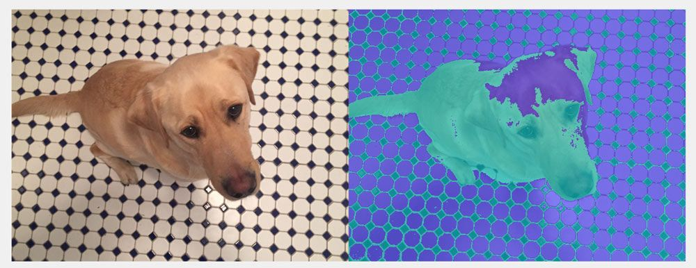 Clustering technique to separate out the patterned background on the floor.