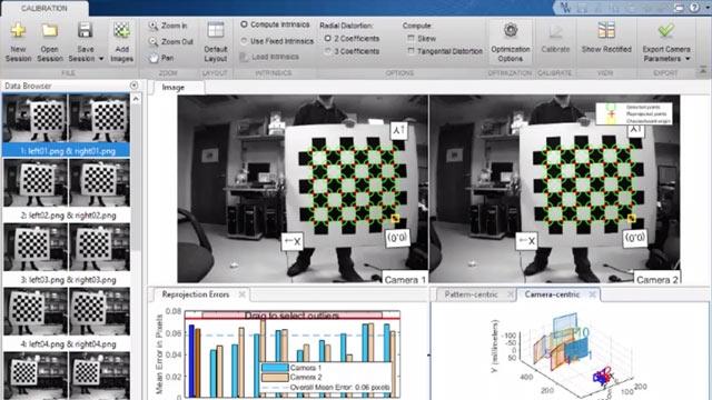 Führen Sie sämtliche Aufgaben durch, um eine Kamera mit Standard-, Fisheye oder Doppel-Objektiv mithilfe von MATLAB zu kalibrieren.