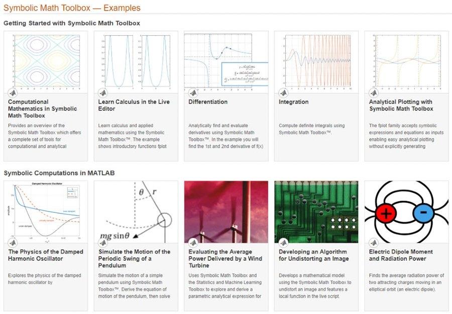 Symbolic Math Toolbox examples.