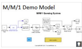 SimEvents model of an M/M/1 single-server system