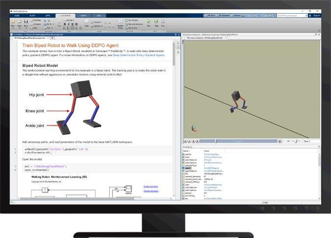 Abbildung 6 Einem zweibeinigen Roboter mit der Reinforcement Learning Toolbox™ das Laufen beibringen
