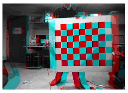 Stereo anaglyph showing calibrated stereo rectification.