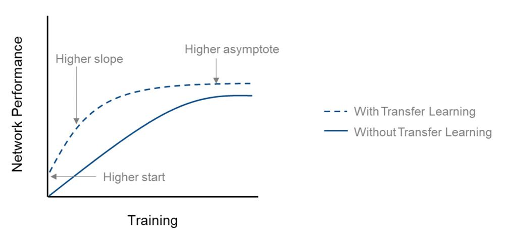 Vergleich der Netzleistung (Genauigkeit) beim Trainieren von Grund auf und beim Transfer Learning.