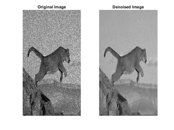 Ursprüngliches (links) und rauschunterdrücktes Bild (rechts). Das Bild wurde unter Beibehaltung der Kanten mit einer Wavelet-Rauschunterdrückungsfunktion rauschfrei bearbeitet.