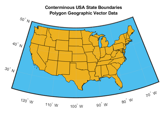 Creating Map Displays With Latitude And Longitude Data MATLAB - Usa map with latitude and longitude