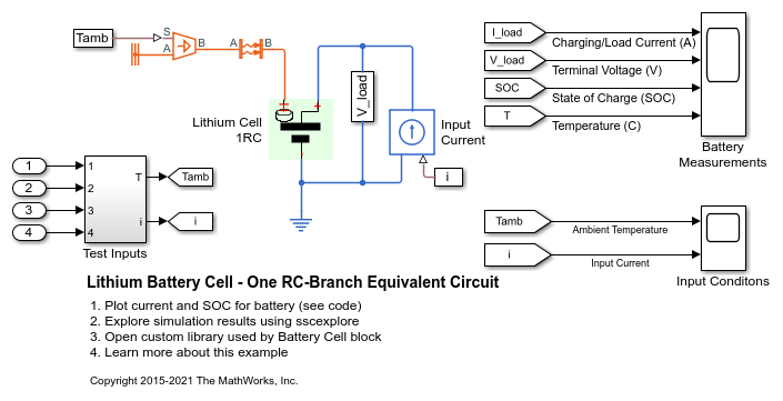 Lithium Battery Cell - One RC-Branch Equivalent Circuit - MATLAB ...