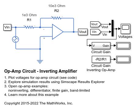 Op-Amp Circuit - Inverting Amplifier - MATLAB & Simulink ... on