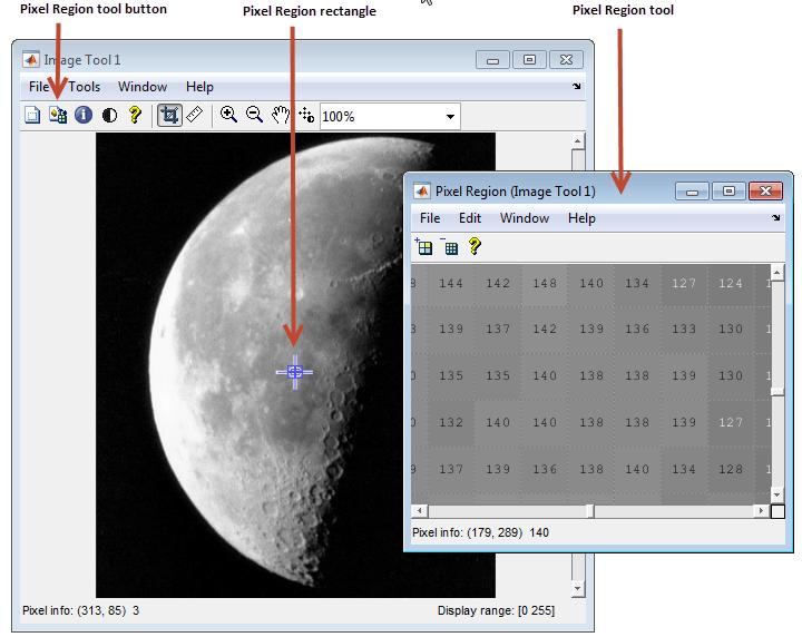 Get Pixel Information In Image Viewer Matlab
