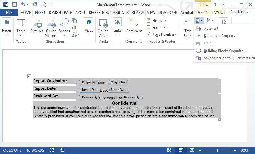create a microsoft word document part template library matlab