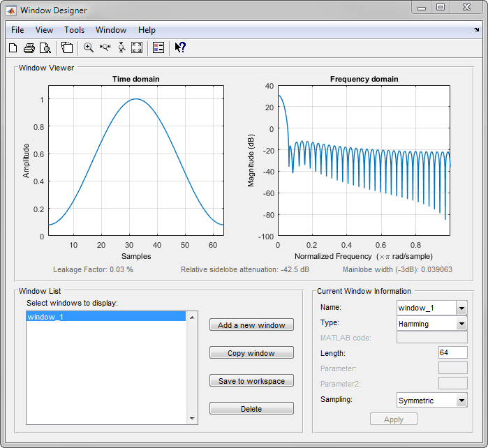 Design and analyze spectral windows matlab mathworks deutschland design windows graphically and export them to the matlab workspace ccuart Images
