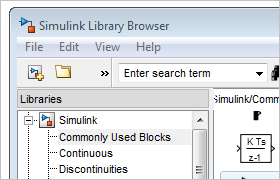 Der Simulink Library Browser.