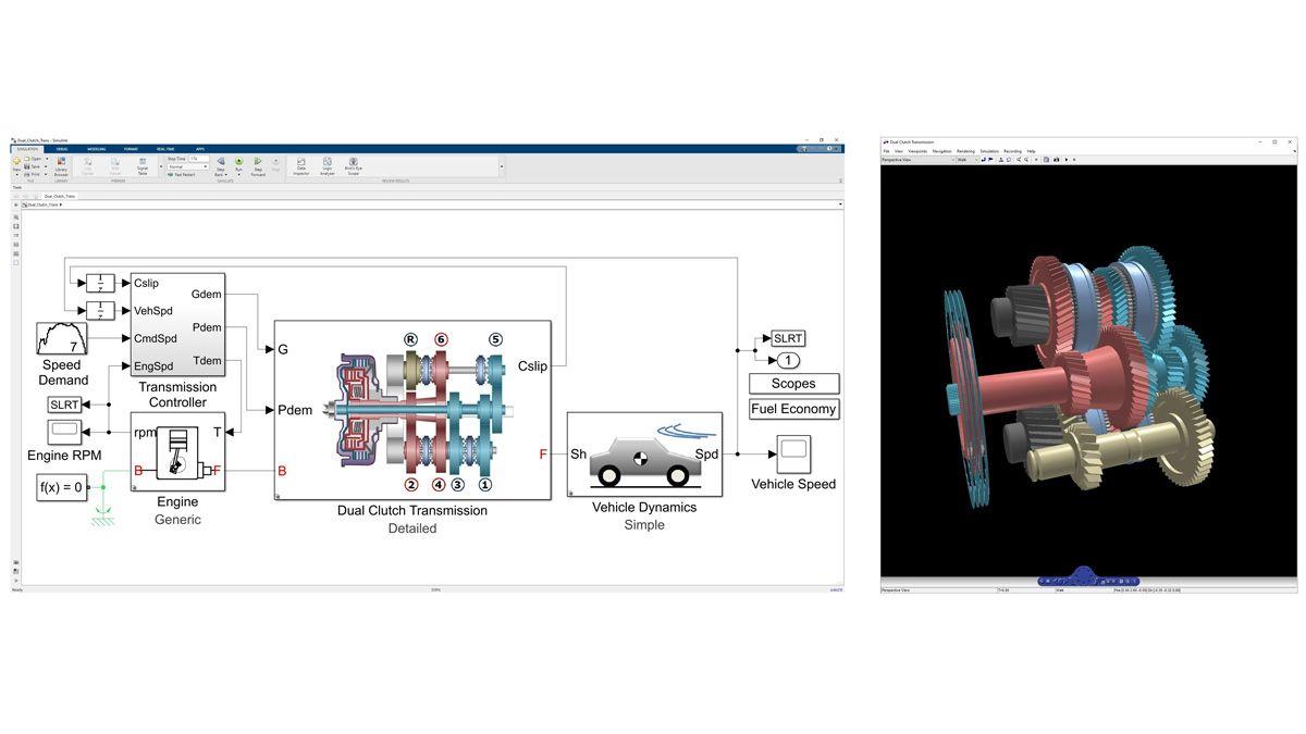 3D-Animation der Dynamik eines in Simscape Driveline modellierten Doppelkupplungsgetriebes