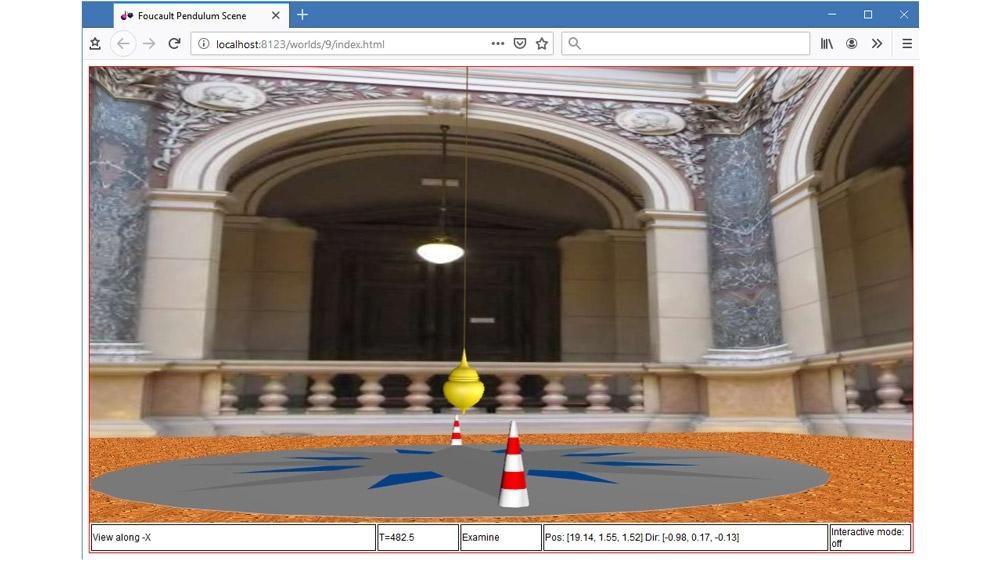 3D-Animation eines Foucaultschen Pendels in einem HTML5-fähigen Browser.