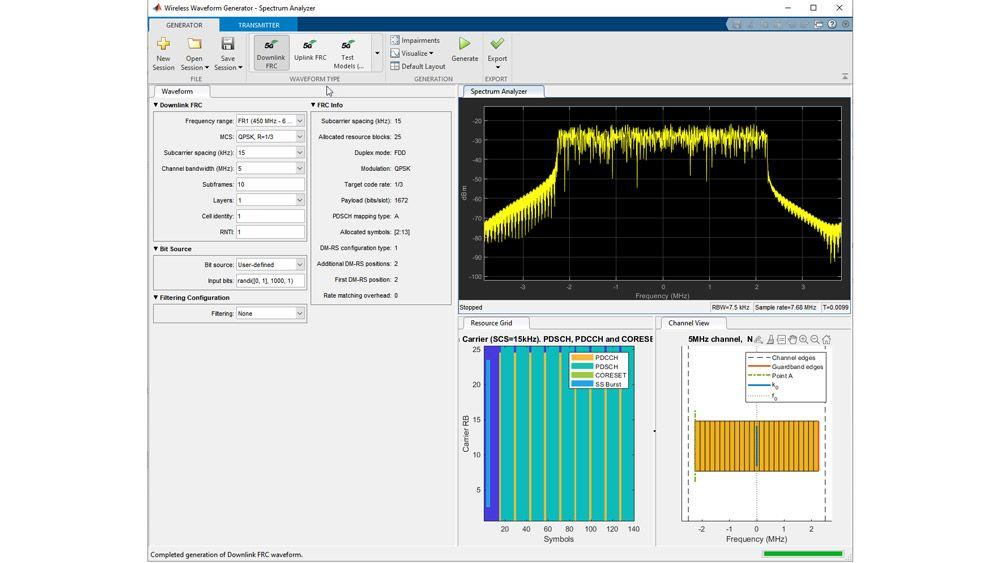 Generierung von Testmodellen mit der Wireless Waveform Generator-App.