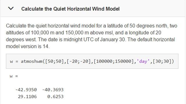 Beispiel für die Verwendung der atmoshwm-Funktion.