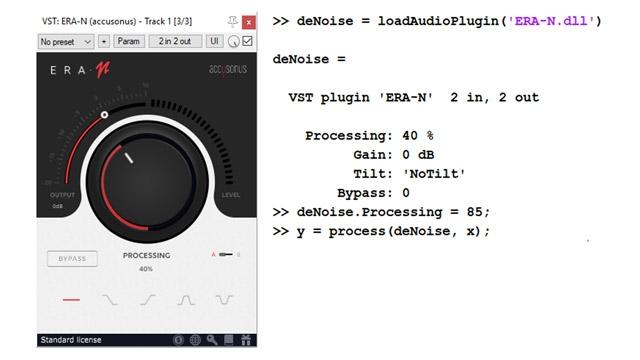 Beispiel für ein externes VST-Plugin für die Audio-Geräuschunterdrückung (Accusonus ERA-N) und programmatische Schnittstelle in MATLAB.