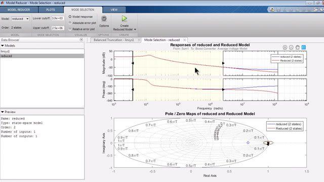 Näherungsweise nichtlineares Simulink-Modell mit einem linearen Modell niedrigen Grades.