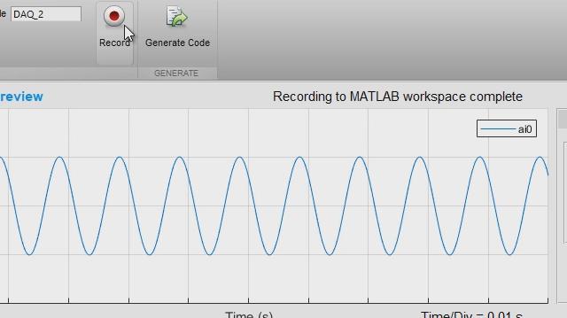 Die analoge Input Recorder-App erleichtert Ihnen den Einstieg in die Arbeit mit der Data Acquisition-Toolbox. Sie können interaktiv eine Sitzung konfigurieren, Daten direkt im MATLAB-Arbeitsbereich erfassen sowie MATLAB-Codes erstellen, um Ihre künftigen Erfassungen zu automatisieren.