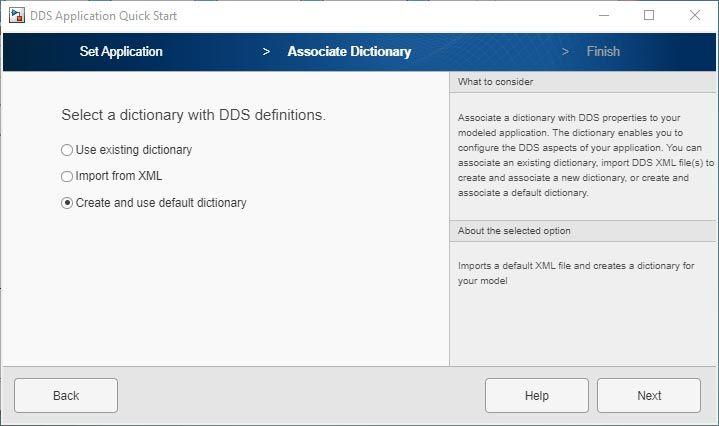 Benutzeroberfläche der App DDS Application Quick Start.