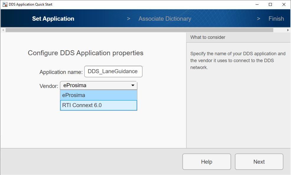 Anzeige von DDS Application Quick Start mit den eProsima- und RTI Connext-Optionen für die Anbieterauswahl.