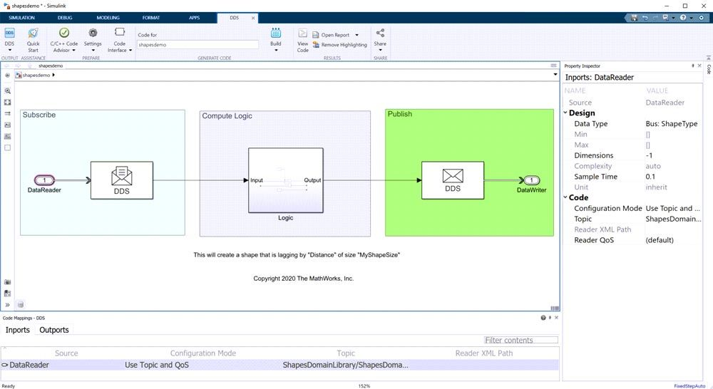 Simulink-Modell mit Code Mappings Editor.