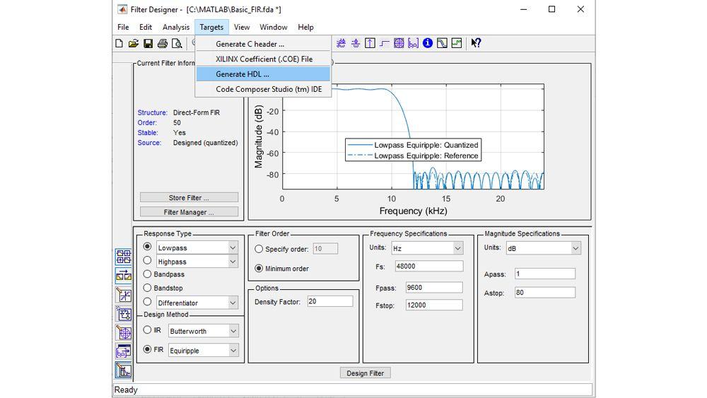 Konfigurieren und quantisieren Sie einen Filter und rufen Sie anschließend die Benutzeroberfläche zur HDL-Codegenerierung auf, um einen synthetisierbaren VHDL- oder Verilog-Code zu erzeugen.