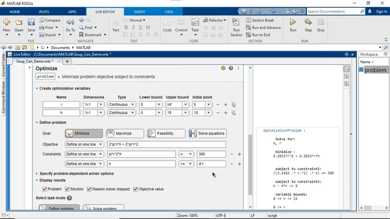 Interaktives Erstellen und Lösen von Optimierungsaufgaben mit MATLAB, der Optimization Toolbox oder der Global Optimization Toolbox über eine visuelle Schnittstelle. Spezifizieren des Ziels und der Randbedingungen, Auswählen von Solvern und Festlegen von Optionen.