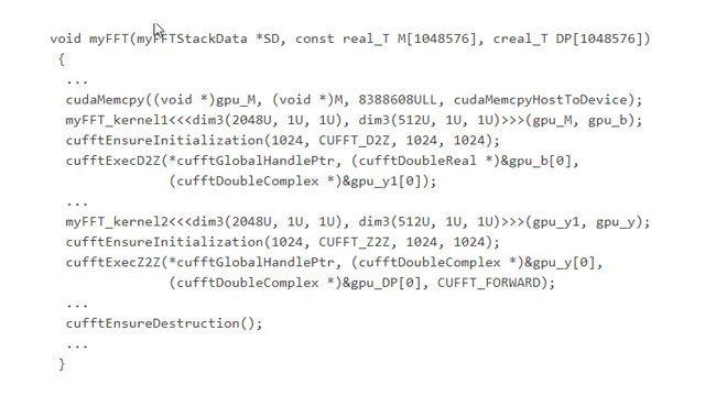 Generierter Code, der Funktionen in der optimierten CUDA-Bibliothek cuFFT aufruft.