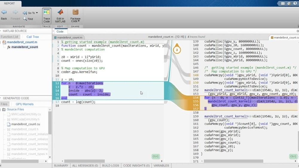 Interaktiver Rückverfolgbarkeitsbericht von GPU Coder mit Embedded Coder.