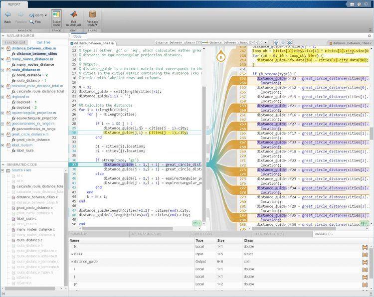 Interaktiver Rückverfolgbarkeitsbericht mithilfe von MATLAB Coder mit Embedded Coder.