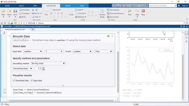 Live Editor Tasks sind Apps, die in ein Live-Skript eingebettet werden können und mit denen Sie Parameter und verschiedene Optionen interaktiv untersuchen, die Ergebnisse sofort ansehen und automatisch den entsprechenden MATLAB-Code für die abgeschlossene Aufgabe generieren können.