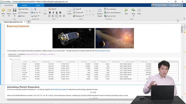 Live-Demo von Funktionen des Live Editors, einschließlich Erstellung eines Notebooks, Weitergabe von Arbeiten an andere Personen und schnelleres Schreiben von Code.
