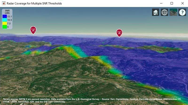 Landbasierte Karte, in der der kombinierte Zielabdeckungsbereich für zwei Radarsysteme dargestellt ist.