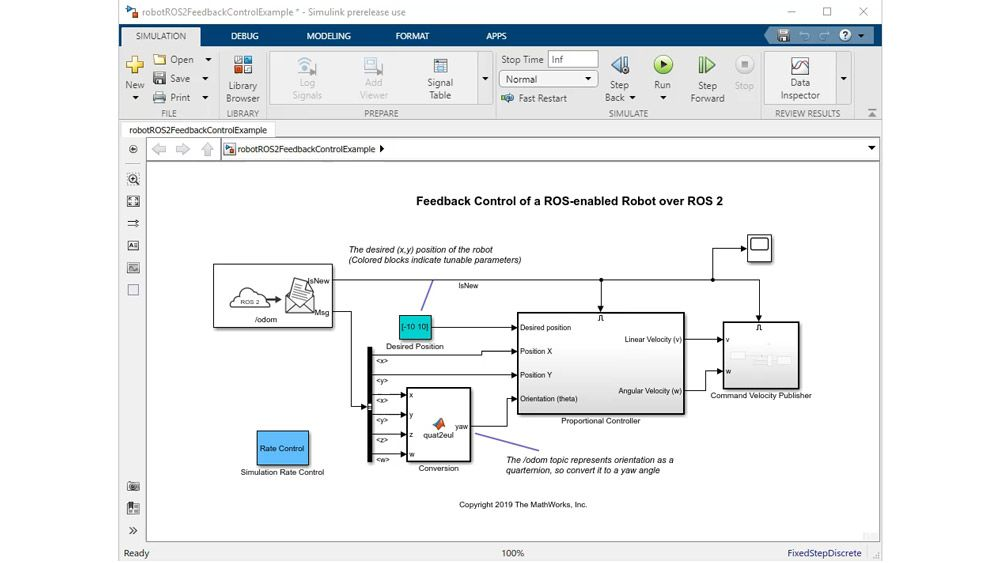 Generating a standalone ROS 2 node from Simulink.