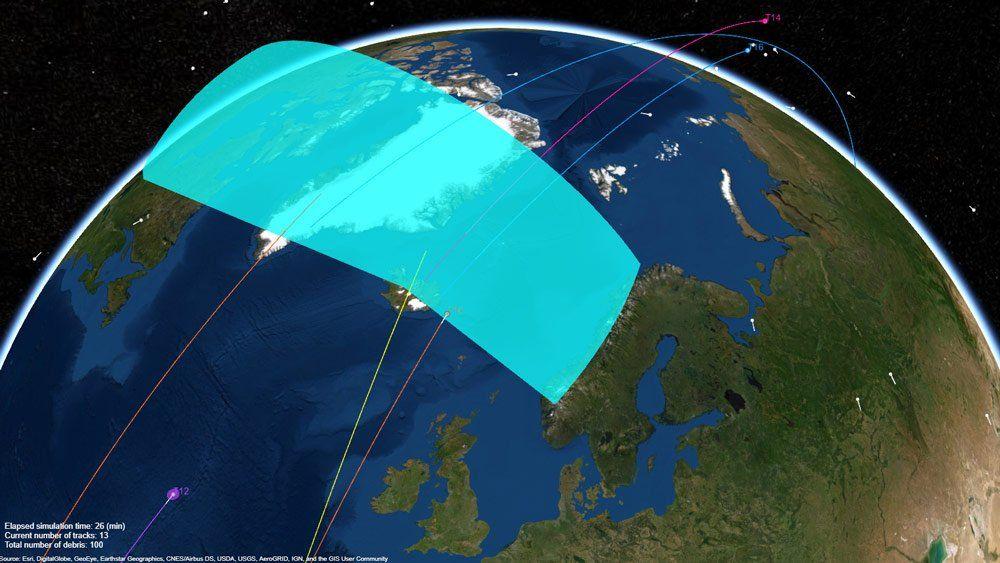 Radarsystem, das Weltraummüll während der Erdumrundung verfolgt.