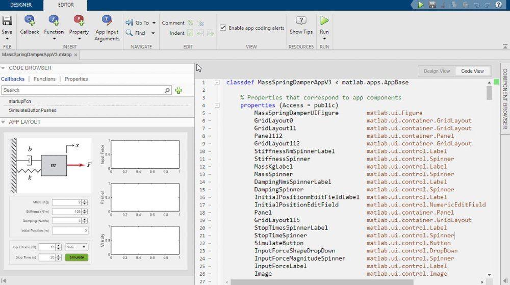 Verwenden Sie den App Designer, um eine grafische Benutzeroberfläche der Simulations-App zu entwickeln