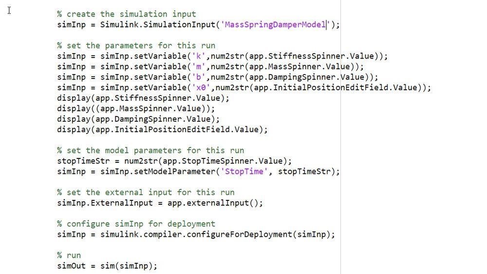 Verwenden Sie das Simulationseingabe-Objekt, um die Simulationseingaben und -parameter zu definieren.