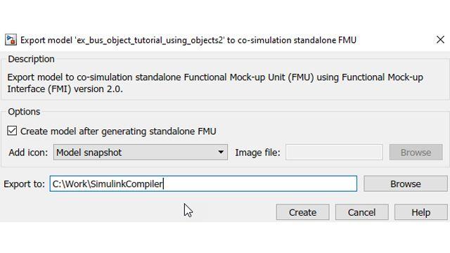 Option, die FMU nach der Erstellung automatisch wieder in Simulink zu integrieren.