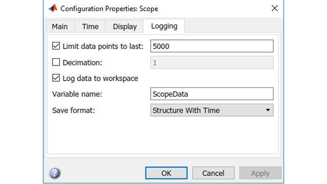 Einstellen der Scope-Parameter für das Logging in den Workspace.