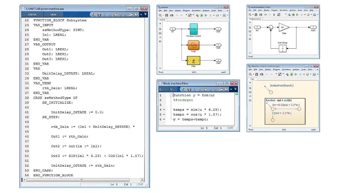 Beispiel für optimierten strukturierten Text. Simulink PLC Coder erzeugt optimierten, vollständig integrierten Code für Simulink-, Stateflow- und MATLAB-Funktionen.