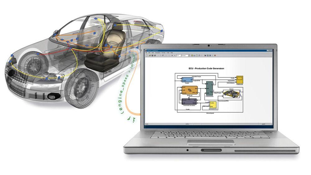 Ein Laptop, der an ein Fahrzeug angeschlossenen ist, wird für den Zugriff auf Busdaten aus MATLAB und Simulink verwendet.
